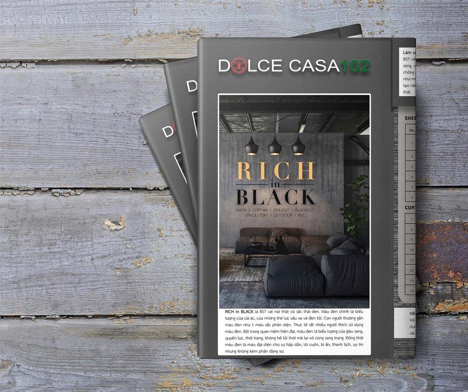 cuốn vải mẫu rich in black